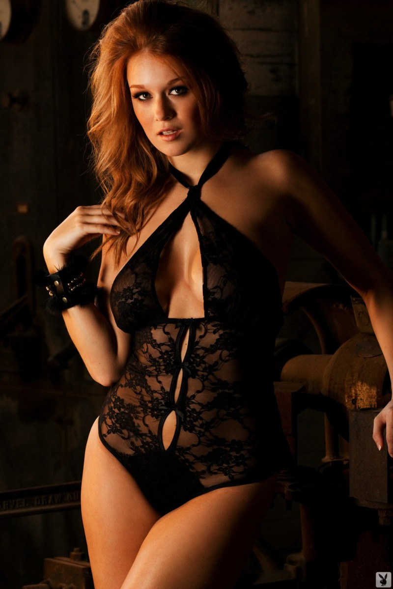 Leanna Decker in black bodysuit bodysuit Leanna Decker playboy redhead