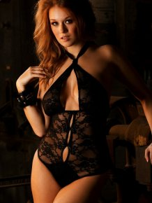 Leanna Decker in black bodysuit