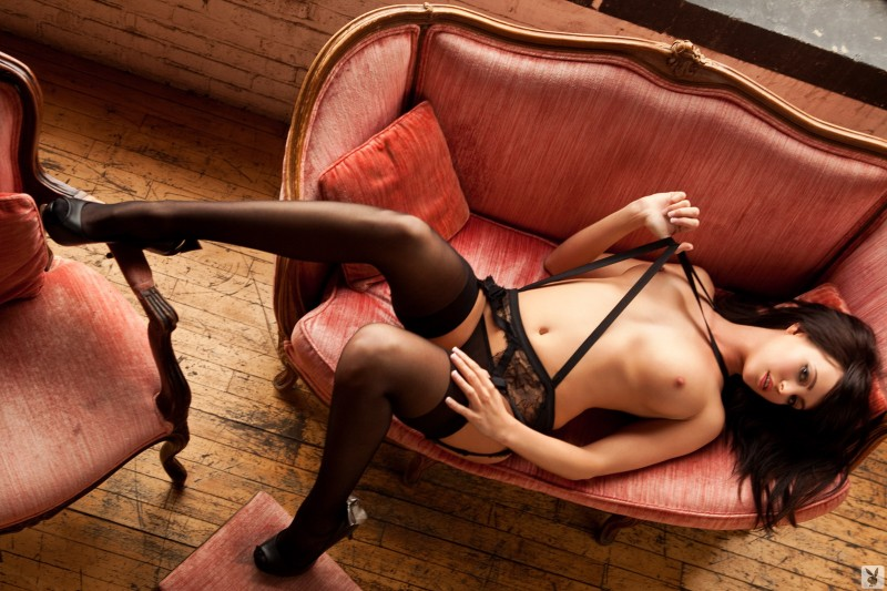 Bethanie Badertscher in garters and stockings Bethanie Badertscher brunette garters high heels playboy stockings
