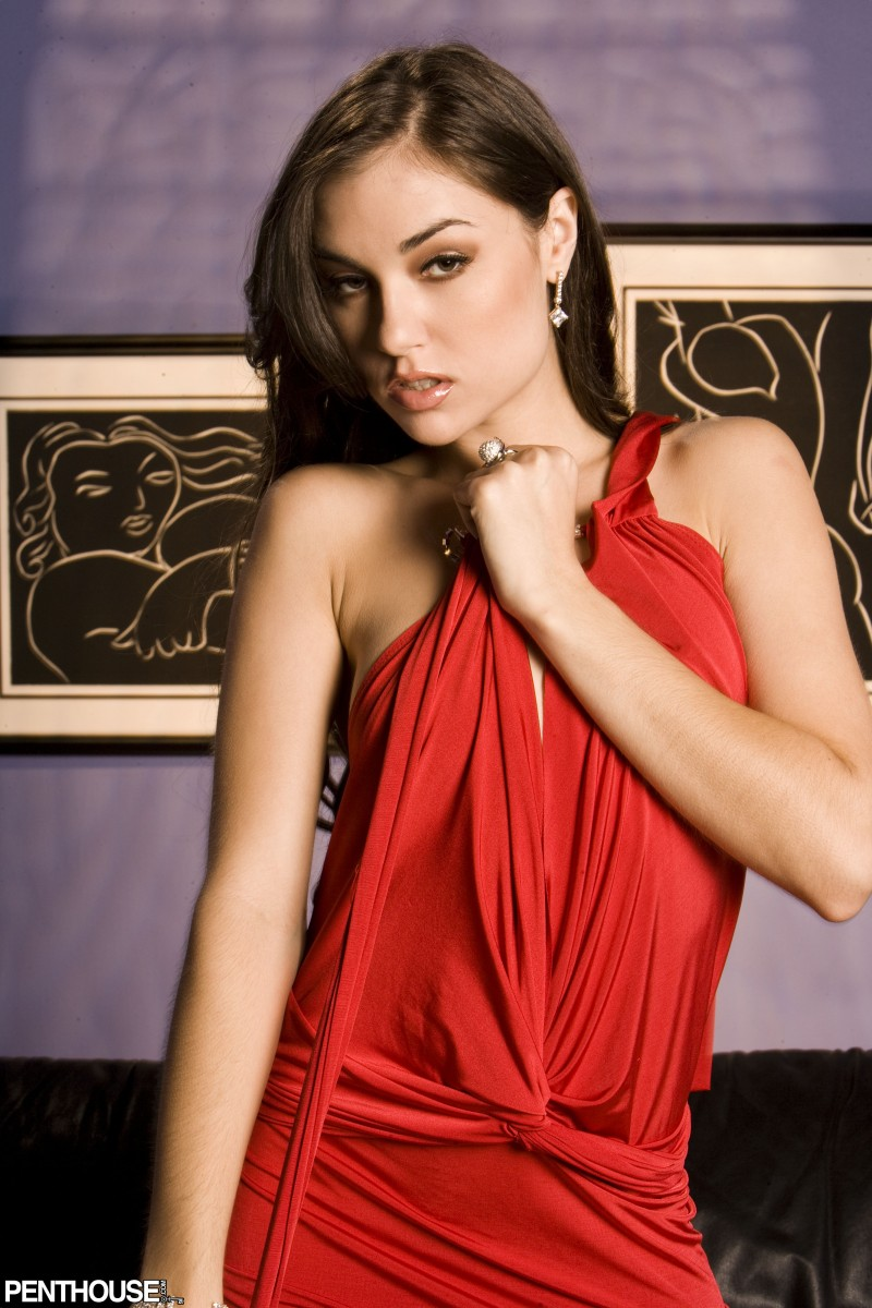 Sasha Grey in red dress couch high heels penthouse Sasha Grey small tits
