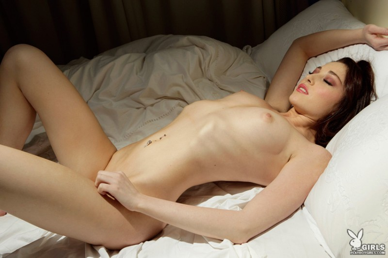 Rachel Schultz in bed bed bedroom brunette playboy Rachel Schultz small tits