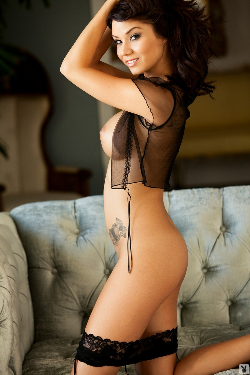 Jennie Reid asian brunette couch high heels Jennie Reid playboy tattoo