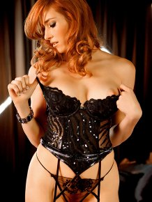 Jessica Lorin in fancy lingerie and stockings