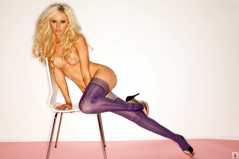Tiffany Toth in purple stockings big tits blonde high heels playboy stockings tiffany toth
