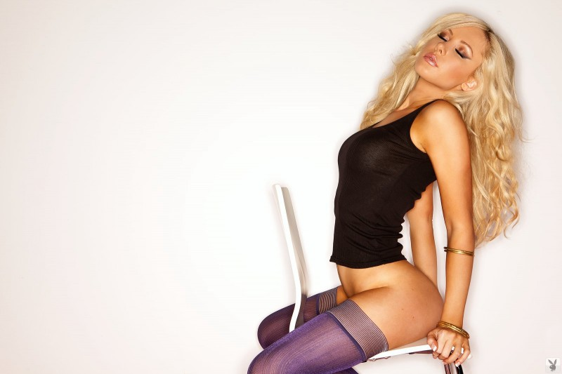 Tiffany Toth in purple stockings