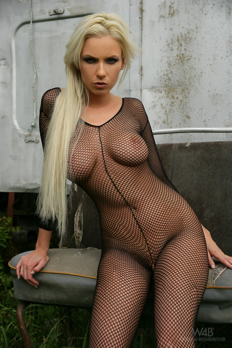 Alexis in fishnet bodystocking