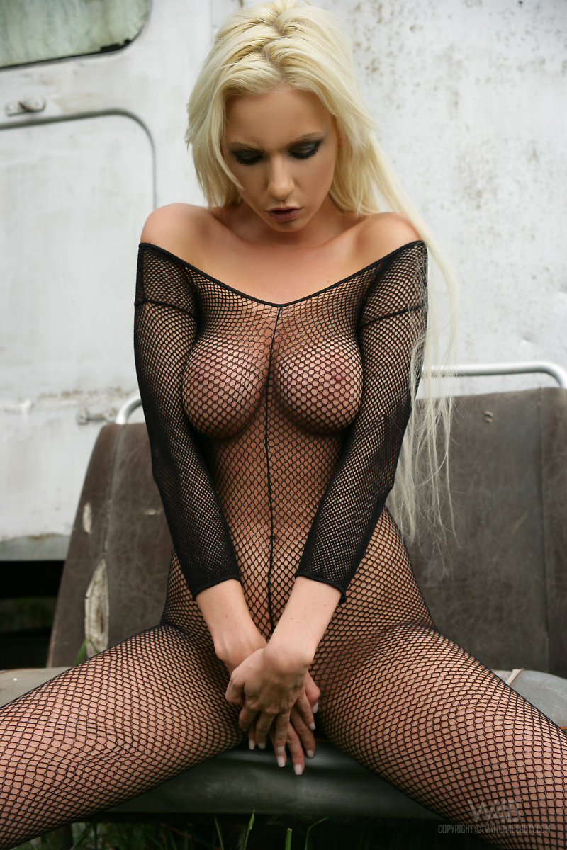 Alexis in fishnet bodystocking Alexis blonde bodystocking catsuit fishnet