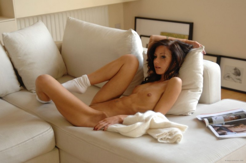 Rosie in white sweater and socks brunette Rosie small tits