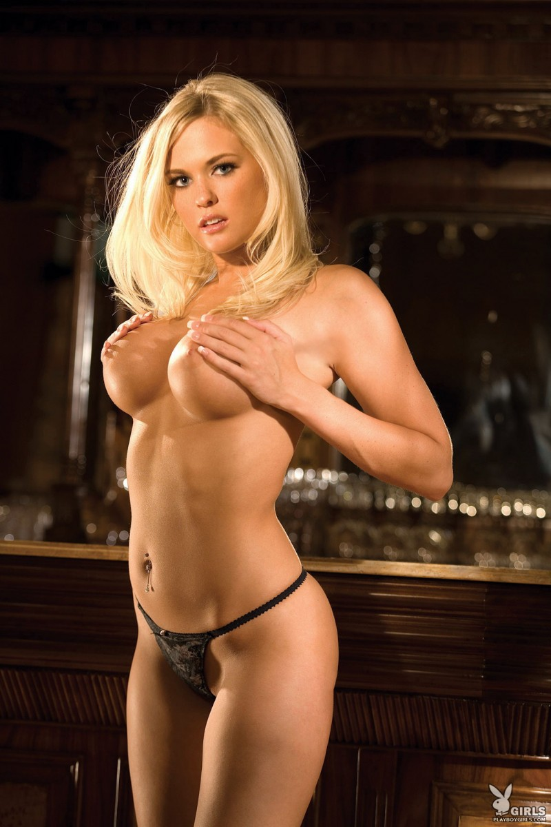 Heather Nicole at the bar big tits blonde Heather Nicole lingerie playboy