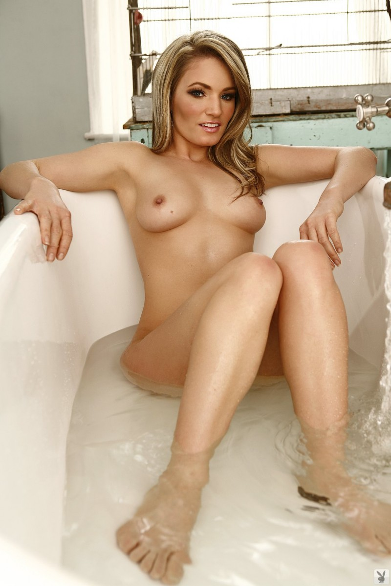 Emma Jones in bath bathroom blonde Emma Jones playboy