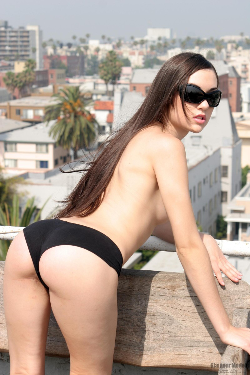 Sasha Grey on the roof brunette public Sasha Grey
