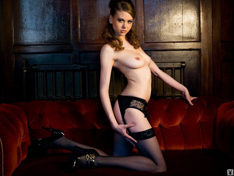 Olivia in black lingerie and stockings garters lingerie Olivia playboy stockings