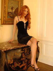 Jayme Langford in black dress