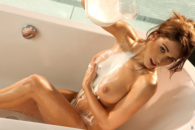 Lauren Elise in milk bath bath big tits Lauren Elise playboy redhead