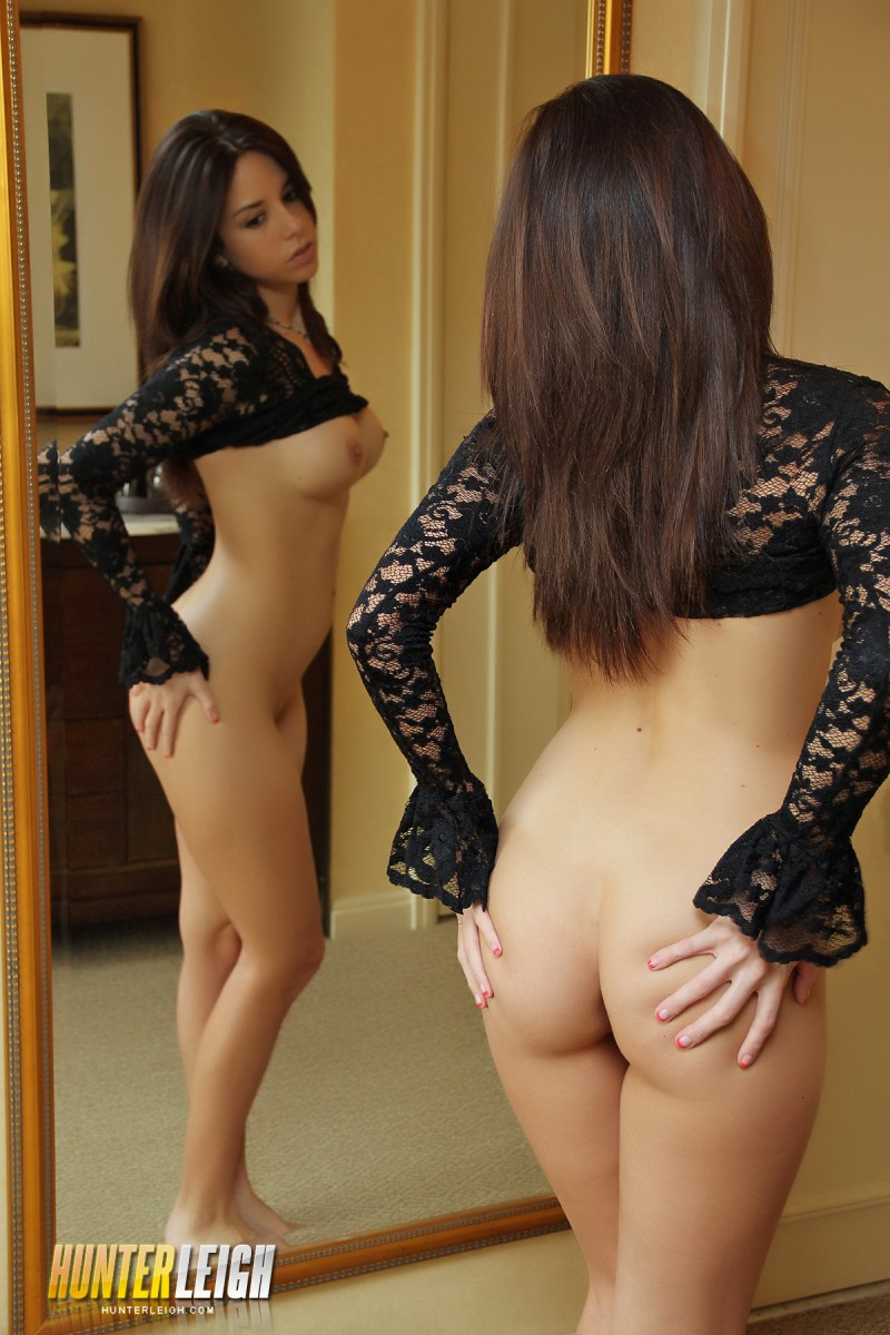 Hunter Leigh in the mirror brunette Hunter Leigh lingerie mirror
