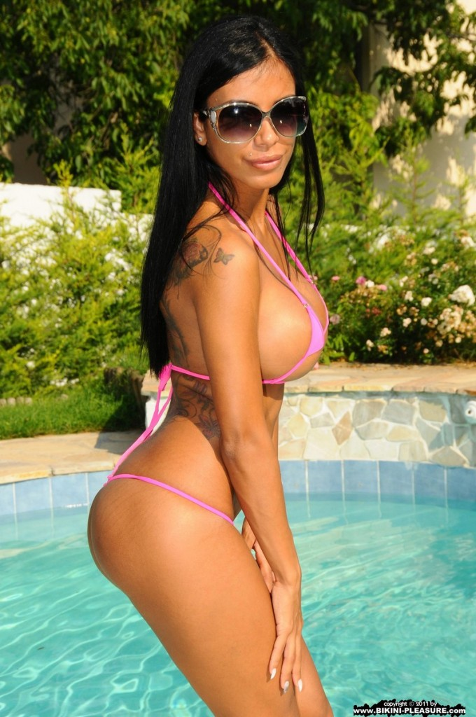 Kyra Black in pink bikini bikini brunette Kyra Black pool