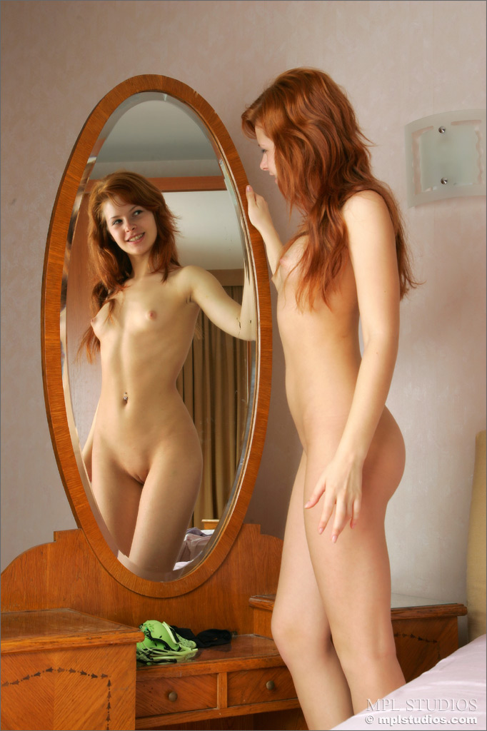 Dasha in her bedroom bedroom Dasha redhead small tits