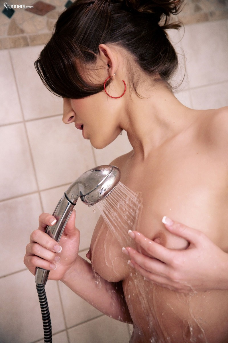 Dani Daniels in the shower bathroom brunette Dani Daniels shower