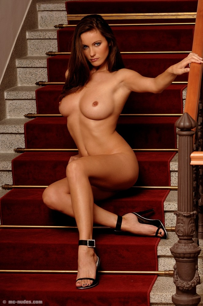 Kyla Cole on the stairs high heels Kyla Cole redhead