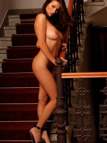 Kyla Cole on the stairs