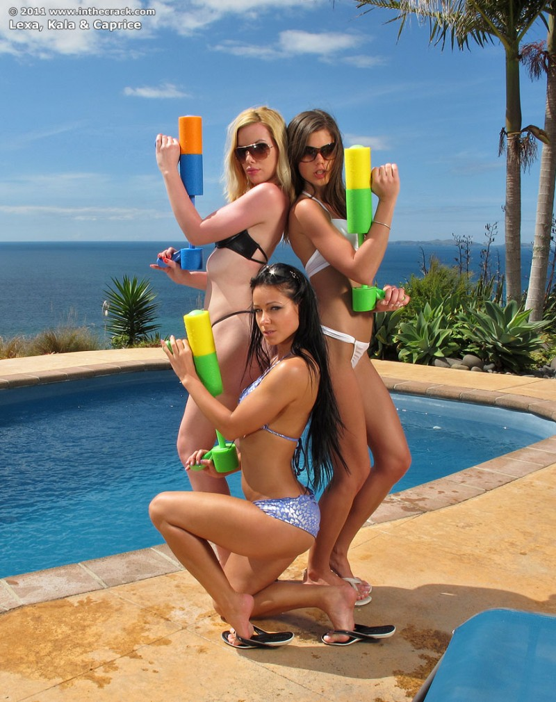 Kala, Caprice and Melisa with water guns
