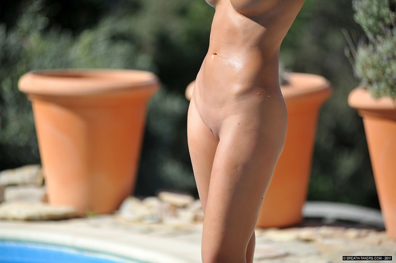 Victoria James by the pool big tits bikini brunette pool Victoria James