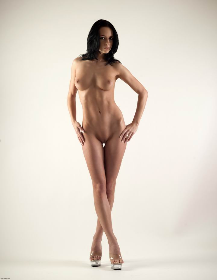 Naked brunette on high heels brunette high heels