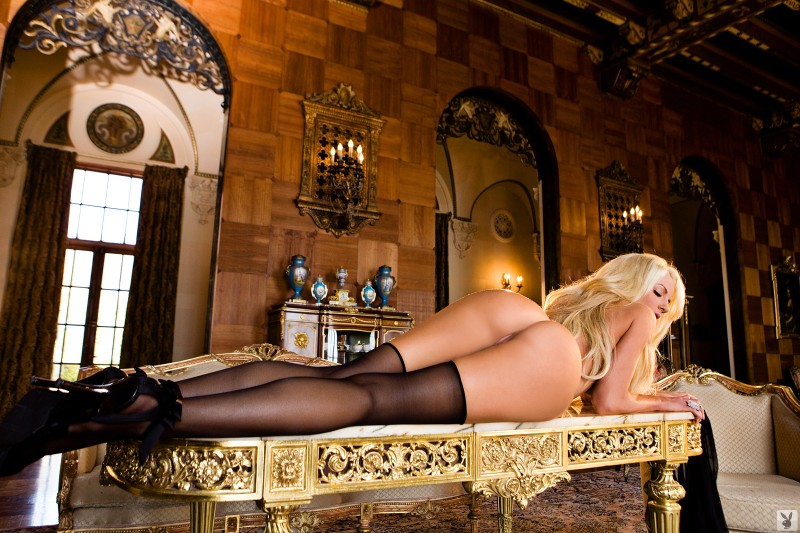 Nicolette Shea in black stockings big tits blonde high heels Nicolette Shea playboy stockings
