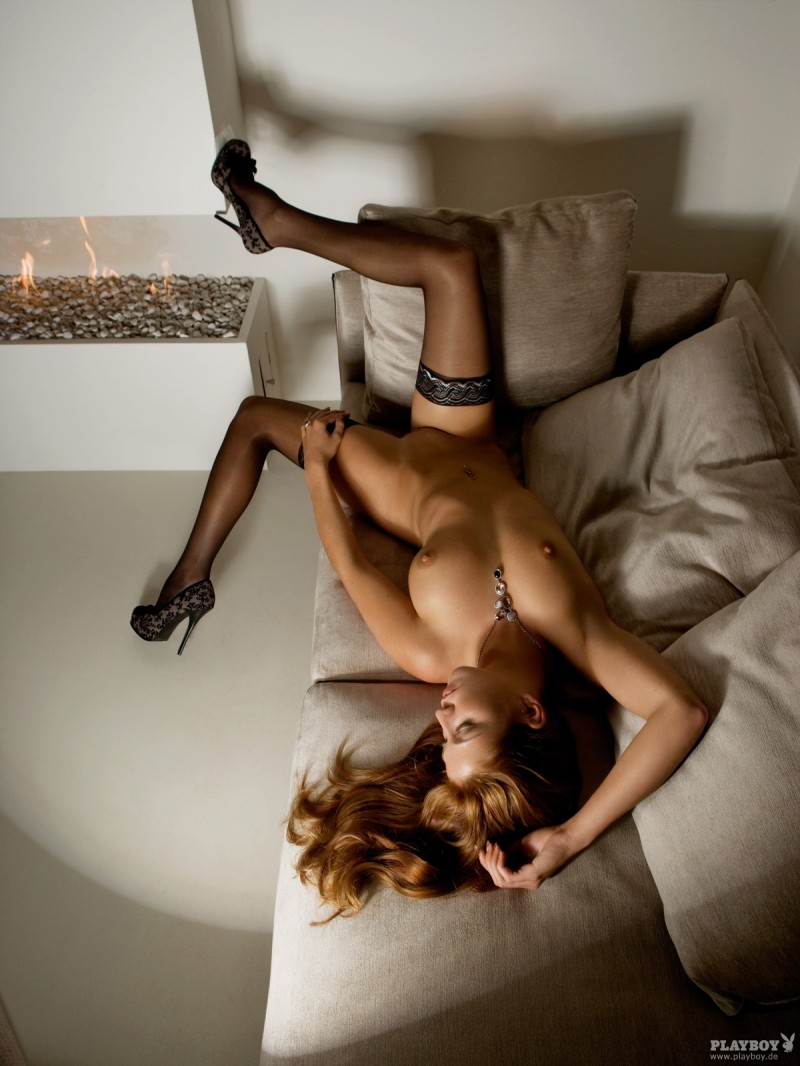 Rosanne Jongenelen in Playboy german playboy redhead Rosanne Jongenelen stockings