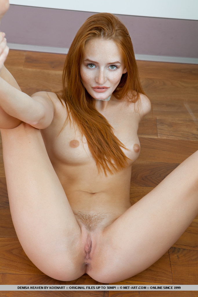 Denisa in white nighty Denisa nighty redhead