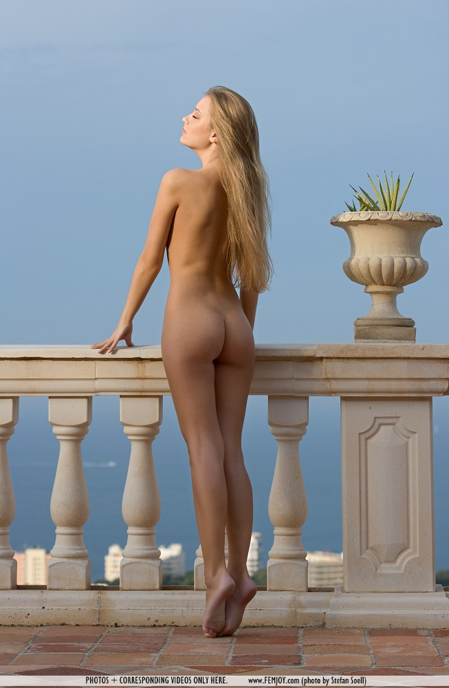 Kinga on the balcony blonde Kinga nude public
