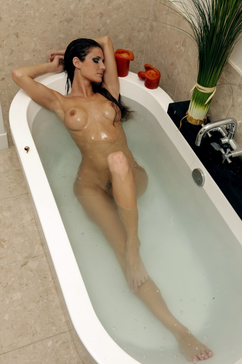 Jenni Lee in the bath bath bathroom brunette jenni lee jenny lee stephanie sadorra