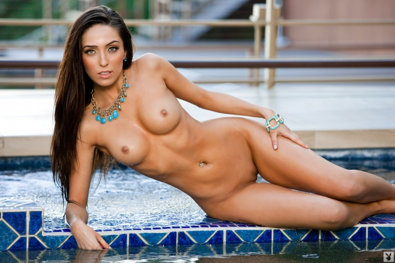 Chelsea Brooke by the pool bikini brunette Chelsea Brooke playboy pool