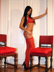 Ashley Bulgari in red stockings