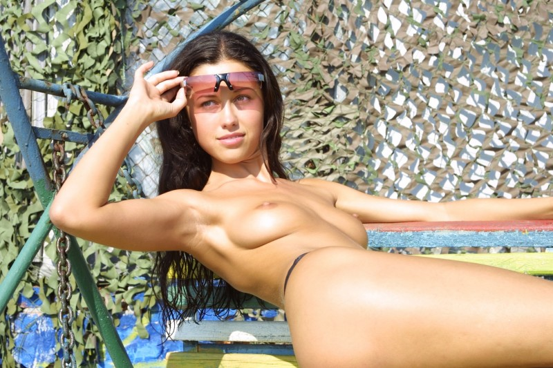 Natasha Johnston – Sunbathing brunette Natasha Johnston nude public small tits sunbathing