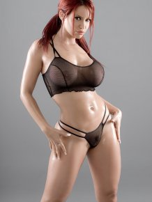 Bianca Beauchamp in fishnet bra