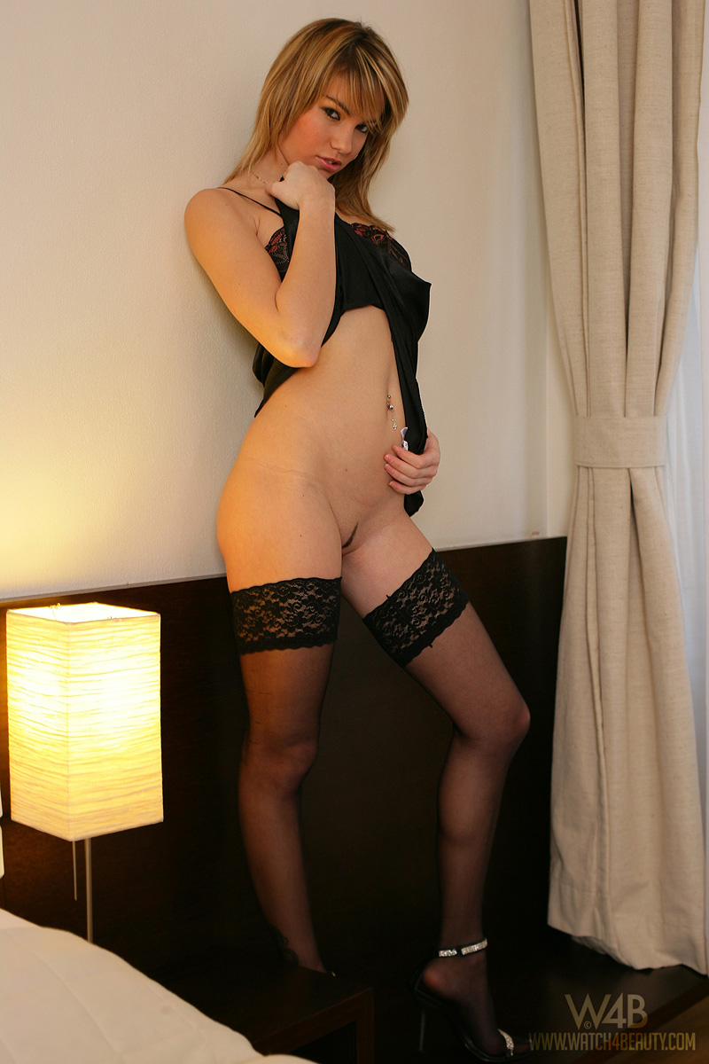 Veronika Fasterova with stockings and nighty blonde nighty stockings Veronika Fasterova