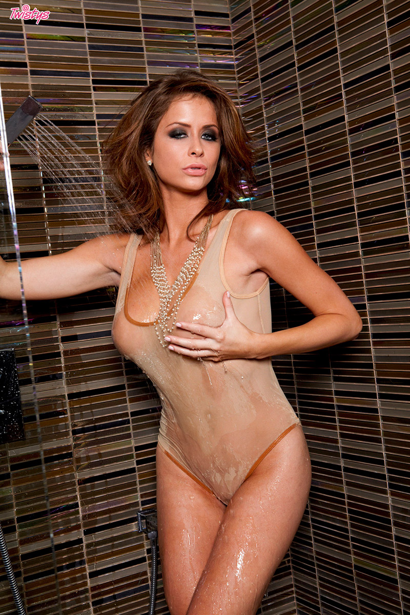 Emily Addison in the shower