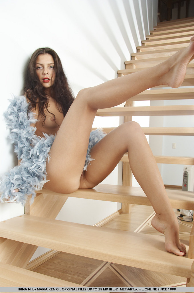 Cofi Milan naked on the stairs