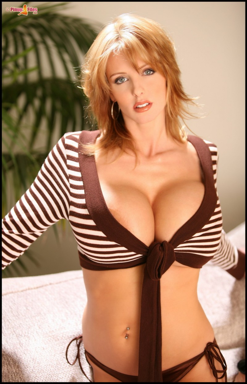 Brandy Robbins in striped blouse big tits blonde boobs Brandy Robbins