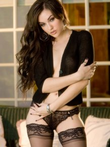 Sasha Grey in black stockings