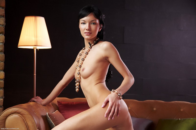 Loreen on the couch brunette couch Loreen milf nude small tits