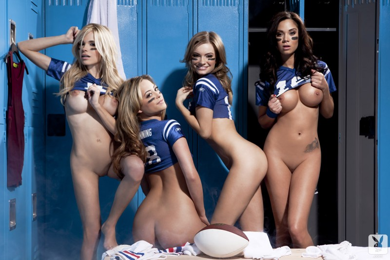 Playboy girls in the locker room after the game