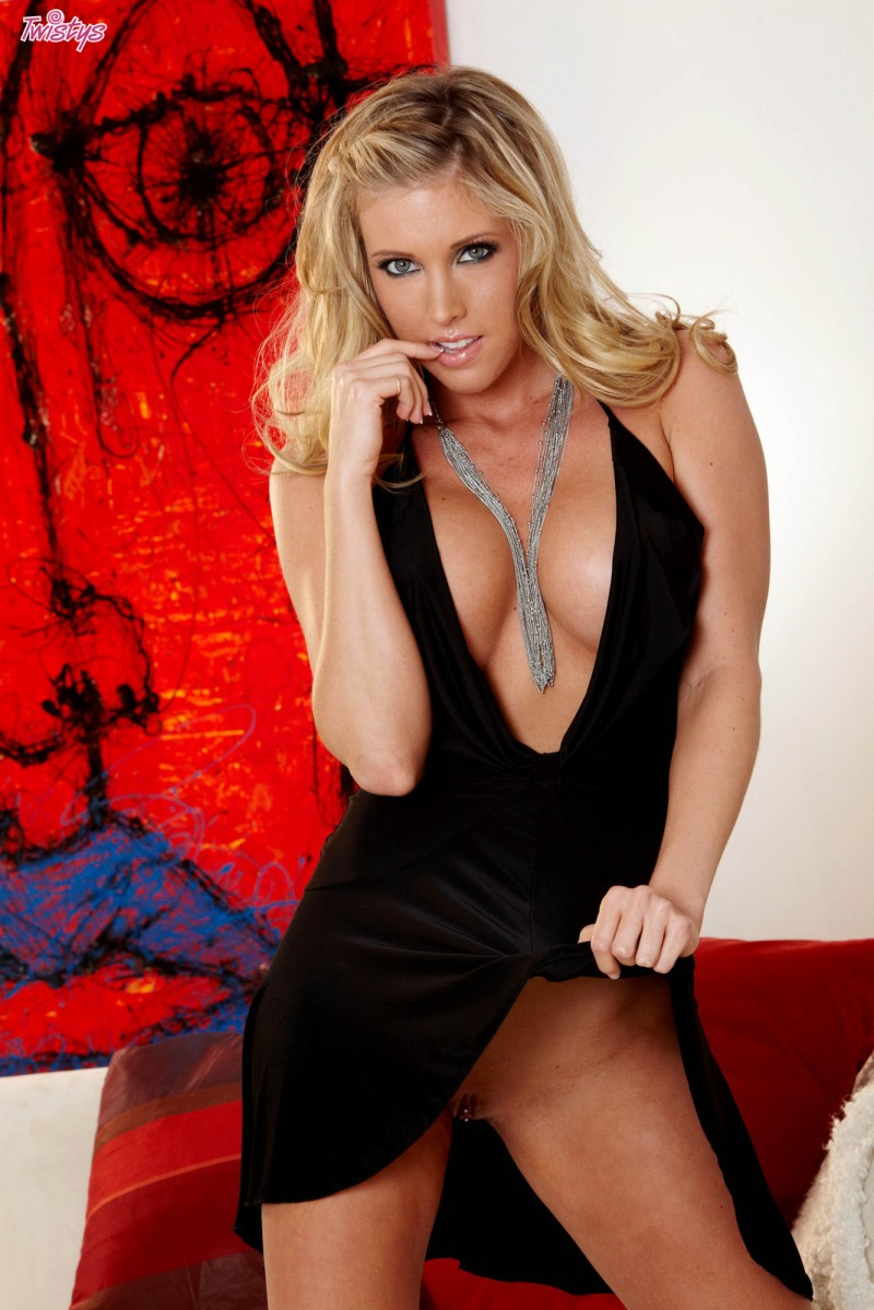 Samantha Saint in black dress