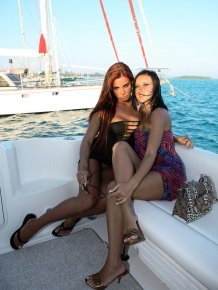 Ashley Bulgari and Angelica Kitten on boat