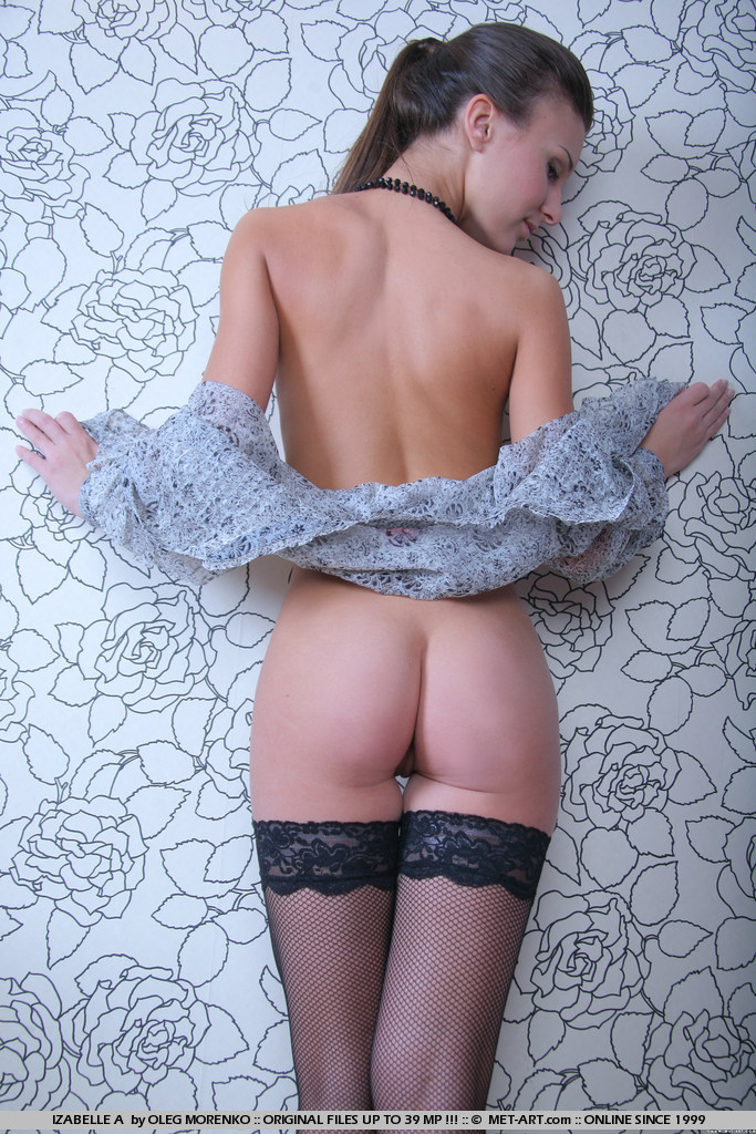 Izabelle in stockings ass brunette Izabelle lingerie nude skinny small tits stockings