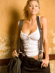 Heather Vandeven in suspenders