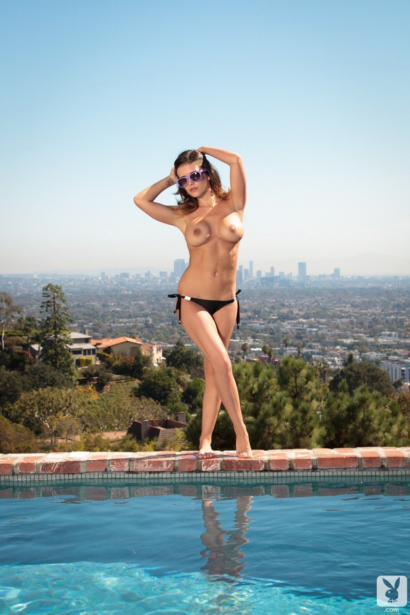 Carlie Christine by the pool big tits brunette Carlie Christine nude playboy pool