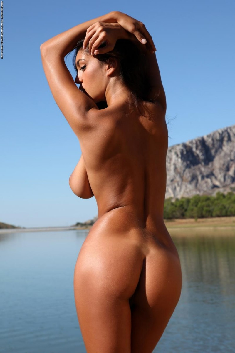 Ela by the lake big tits brunette Ela nude piblic