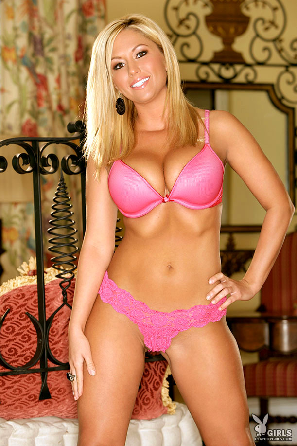 Amy Leigh Andrews in pink lingerie